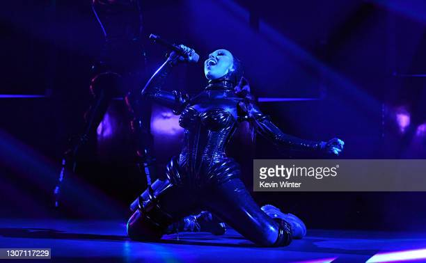 In this image released on March 14, Doja Cat performs onstage during the 63rd Annual GRAMMY Awards at Los Angeles Convention Center in Los Angeles,...