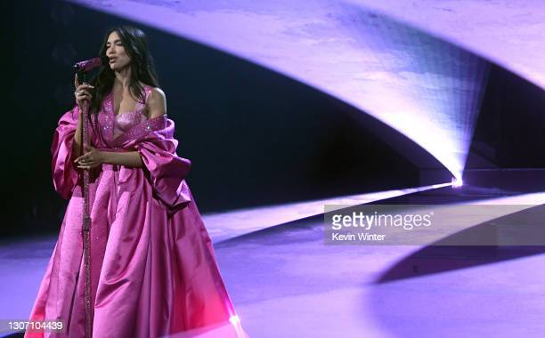 In this image released on March 14, Dua Lipa performs onstage during the 63rd Annual GRAMMY Awards at Los Angeles Convention Center in Los Angeles,...