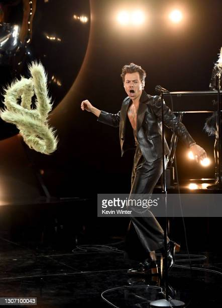 In this image released on March 14, Harry Styles performs onstage during the 63rd Annual GRAMMY Awards at Los Angeles Convention Center in Los...