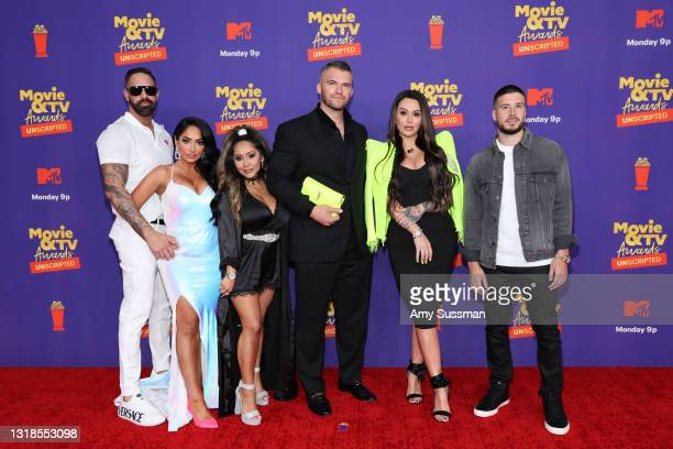 "In this image released on May 17, Christopher Larangeira, Angelina Pivarnick, Nicole ""Snooki"" Polizzi, Zack Clayton, Jenni ""JWOWW"" Farley, and Vinny..."