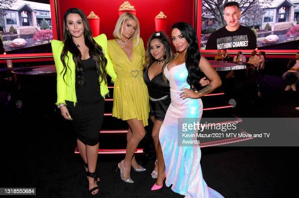 "In this image released on May 17, Jenni ""JWOWW"" Farley, Paris Hilton, Nicole ""Snooki"" Polizzi, Angelina Pivarnick pose during the 2021 MTV Movie & TV..."