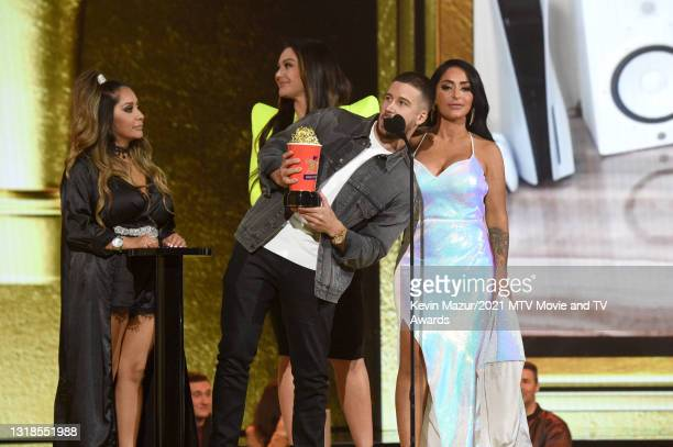 """In this image released on May 17, Nicole """"Snooki"""" Polizzi, Jenni """"JWOWW"""" Farley, Vinny Guadagnino, and Angelina Pivarnick accept Best Docu-Reality..."""