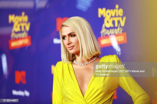 In this image released on May 17, Paris Hilton attends the 2021 MTV Movie & TV Awards: UNSCRIPTED in Los Angeles, California.