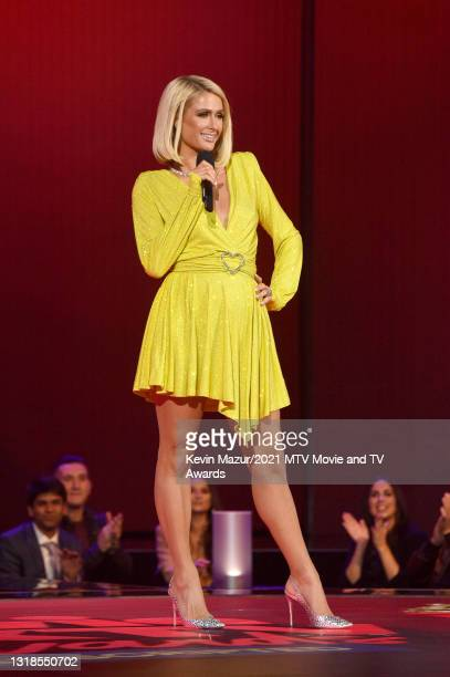 In this image released on May 17, Paris Hilton speaks onstage during the 2021 MTV Movie & TV Awards: UNSCRIPTED in Los Angeles, California.