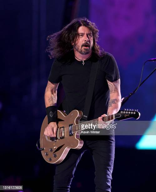 In this image released on May 2, Dave Grohl of music group Foo Fighters performs onstage during Global Citizen VAX LIVE: The Concert To Reunite The...