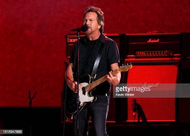In this image released on May 2, Eddie Vedder performs onstage during Global Citizen VAX LIVE: The Concert To Reunite The World at SoFi Stadium in...