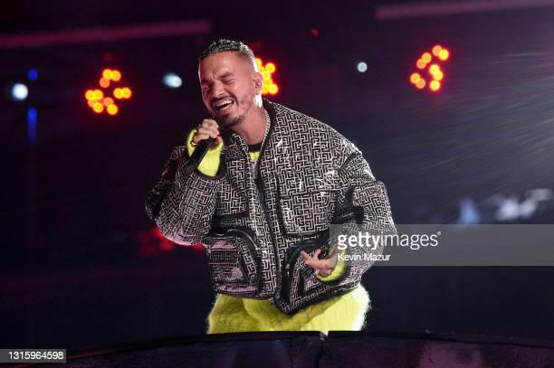 In this image released on May 2, J Balvin performs onstage during Global Citizen VAX LIVE: The Concert To Reunite The World at SoFi Stadium in...