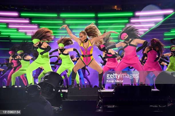 In this image released on May 2, Jennifer Lopez performs onstage during Global Citizen VAX LIVE: The Concert To Reunite The World at SoFi Stadium in...