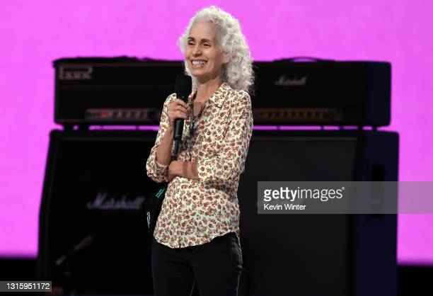 In this image released on May 2, Los Angeles County Health Agency Public Health Director Dr. Barbara Ferrer speaks onstage during Global Citizen VAX...