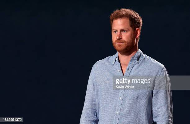 In this image released on May 2, Prince Harry, The Duke of Sussex, speaks onstage during Global Citizen VAX LIVE: The Concert To Reunite The World at...