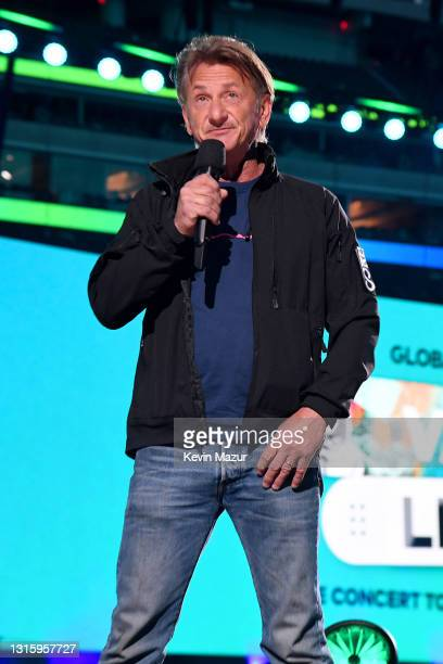 In this image released on May 2, Sean Penn speaks onstage during Global Citizen VAX LIVE: The Concert To Reunite The World at SoFi Stadium in...