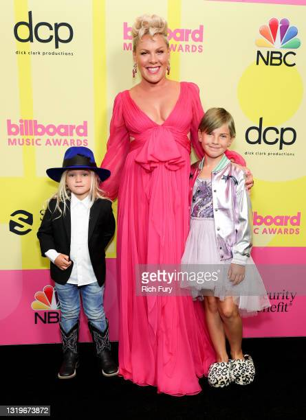 In this image released on May 23, Jameson Moon Hart, P!nk, and Willow Sage Hart pose backstage for the 2021 Billboard Music Awards, broadcast on May...
