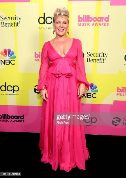 In this image released on May 23, P!nk poses backstage for the 2021 Billboard Music Awards, broadcast on May 23, 2021 at Microsoft Theater in Los...