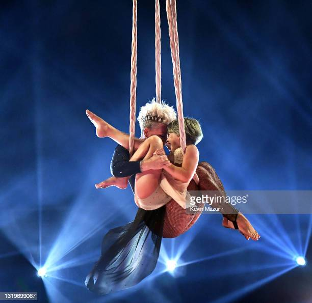 In this image released on May 23, Willow Sage Hart and P!nk perform onstage for the 2021 Billboard Music Awards, broadcast on May 23, 2021 at...