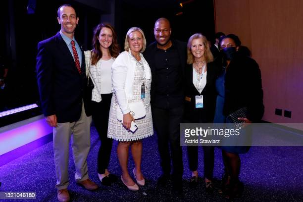 In this image released on May 31 Bob Kozlowsky, Katie Greer, Victoria Faustini, Dr. Yves Duroseau, Peg Butler, and Claude Duroseau attend Northwell...