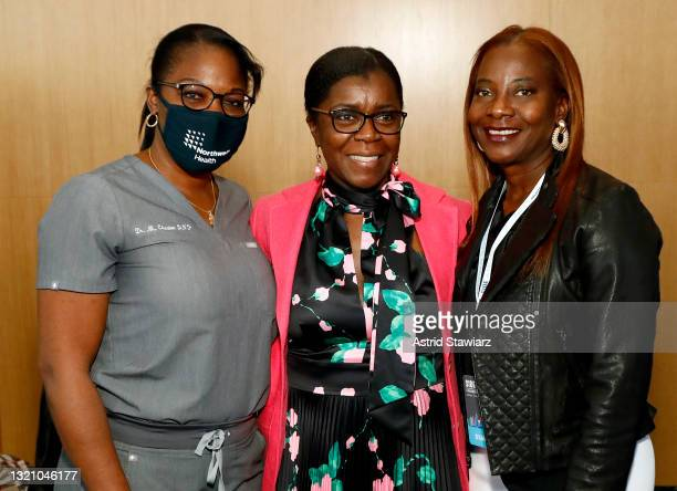 In this image released on May 31 Michelle Chester, Launette Woolforde, and Sandra Lindsay attend Northwell Health's 2021 Side By Side: A Celebration...