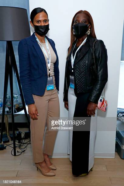 In this image released on May 31 Nurses Larissa Niewdach-Ebron and Sandra Lindsay attend Northwell Health's 2021 Side By Side: A Celebration of...