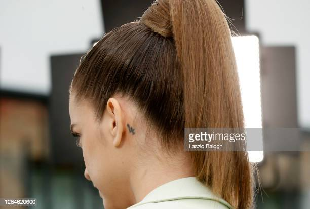 In this image released on November 08, Barbara Palvin, hair detail, poses ahead of the MTV EMA's 2020 on October 26, 2020 in Budapest, Hungary. The...