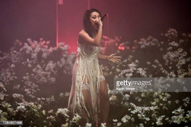 In this image released on November 08, Doja Cat performs at the MTV EMA's 2020 on November 01, 2020 in Los Angeles, California. The MTV EMA's aired...