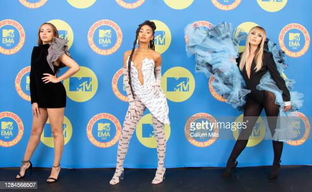 In this image released on November 08, Hosts Jade Thirlwall, Leigh-Anne Pinnock and Perrie Edwards of Little Mix poses ahead of the MTV EMA's 2020 on...