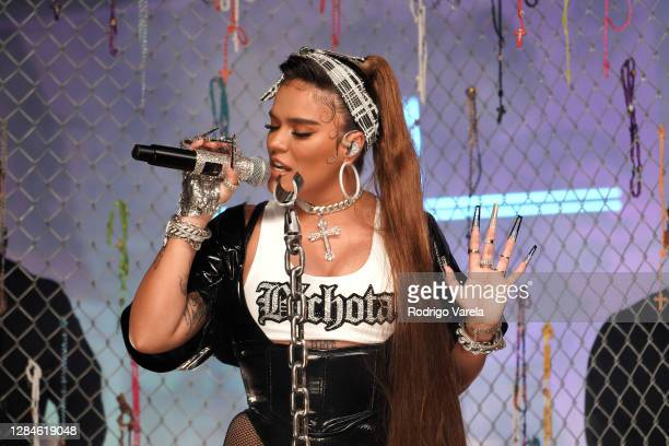 In this image released on November 08, Karol G performs at the MTV EMA's 2020 on October 23, 2020 in Miami, Florida. The MTV EMA's aired on November...