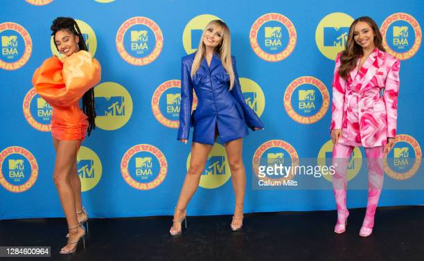 In this image released on November 08, Leigh-Anne Pinnock, Perrie Edwards and Jade Thirlwall of Little Mix poses ahead of the MTV EMA's 2020 on...