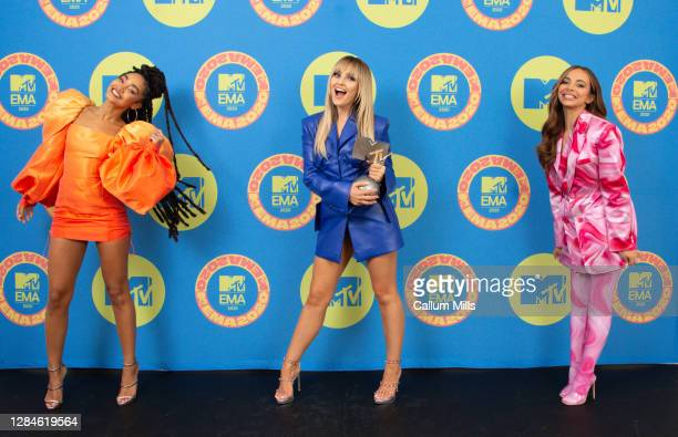 In this image released on November 08, Leigh-Anne Pinnock, Perrie Edwards and Jade Thirlwall of Little Mix pose ahead of the MTV EMA's 2020 on...