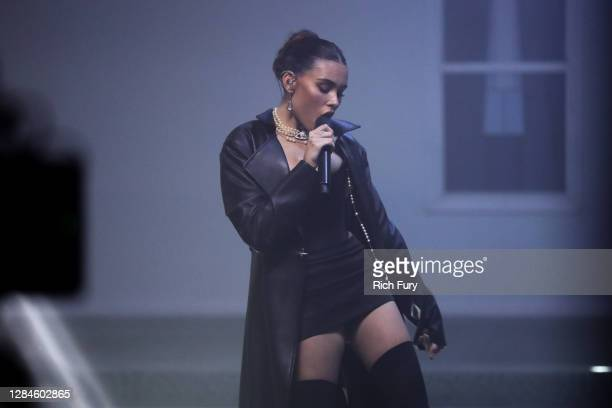 In this image released on November 08, Madison Beer performs at the MTV EMA's 2020 on October 30, 2020 in Los Angeles, California. The MTV EMA's...