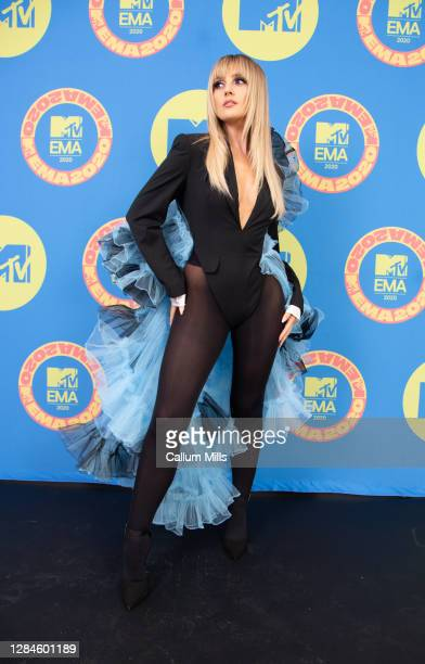In this image released on November 08, Perrie Edwards of Little Mix poses ahead of the MTV EMA's 2020 on November 01, 2020 in London, England. The...