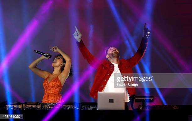 In this image released on November 08, Raye and David Guetta perform at the MTV EMA's 2020 on October 26, 2020 in Budapest, Hungary. The MTV EMA's...