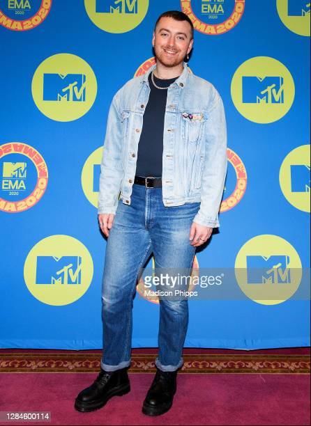 In this image released on November 08, Sam Smith poses at the MTV EMA's 2020 on November 03, 2020 in London, England. The MTV EMA's aired on November...