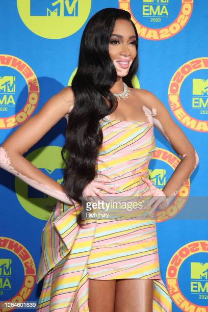 In this image released on November 08, Winnie Harlow poses ahead of the MTV EMA's 2020 on November 02, 2020 in Los Angeles, California. The MTV EMA's...