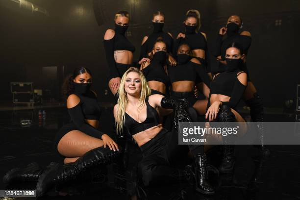In this image released on November 08, Zara Larsson and dancers pose ahead of the MTV EMA's 2020 on October 31, 2020 in London, England. The MTV...