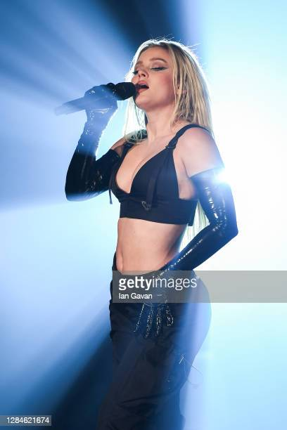 In this image released on November 08, Zara Larsson performs at the MTV EMA's 2020 on October 31, 2020 in London, England. The MTV EMA's aired on...