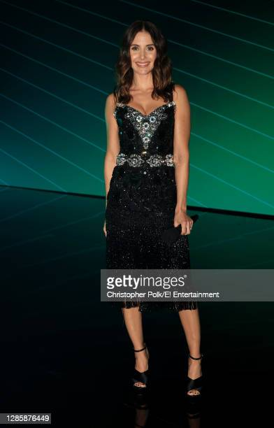 In this image released on November 15, Alison Brie poses onstage for the 2020 E! People's Choice Awards held at the Barker Hangar in Santa Monica,...