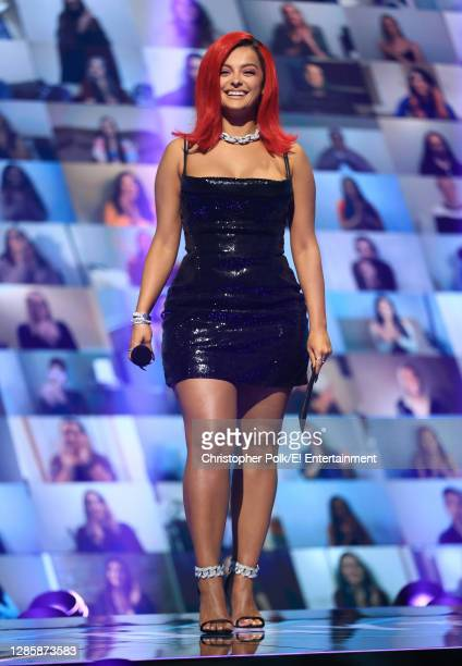 In this image released on November 15, Bebe Rexha speaks onstage for the 2020 E! People's Choice Awards held at the Barker Hangar in Santa Monica,...