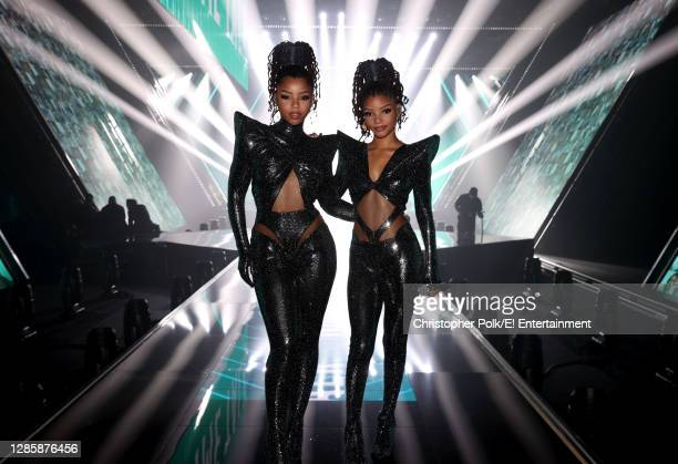 In this image released on November 15, Chloe Bailey and Halle Bailey of Chloe X Halle perform onstage for the 2020 E! People's Choice Awards held at...