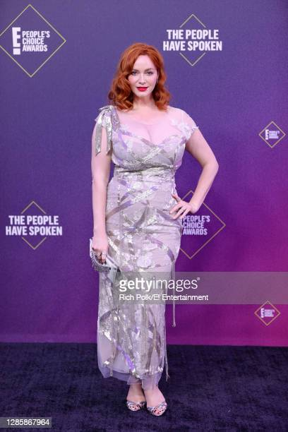 In this image released on November 15, Christina Hendricks arrives at the 2020 E! People's Choice Awards held at the Barker Hangar in Santa Monica,...