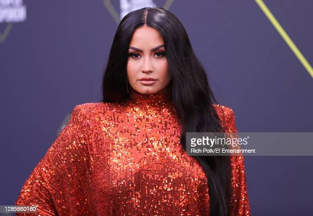 In this image released on November 15, Demi Lovato arrives at the 2020 E! People's Choice Awards held at the Barker Hangar in Santa Monica,...