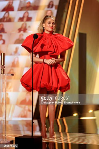 In this image released on November 15, Jennifer Lopez, People's Icon of 2020, accepts the award onstage for the 2020 E! People's Choice Awards held...