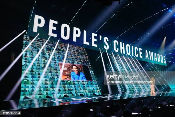 In this image released on November 15, Jimmy Fallon and Demi Lovato speak onstage for the 2020 E! People's Choice Awards held at the Barker Hangar in...