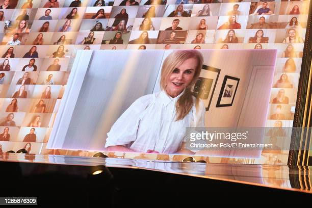 In this image released on November 15, Nicole Kidman speaks onstage for the 2020 E! People's Choice Awards held at the Barker Hangar in Santa Monica,...