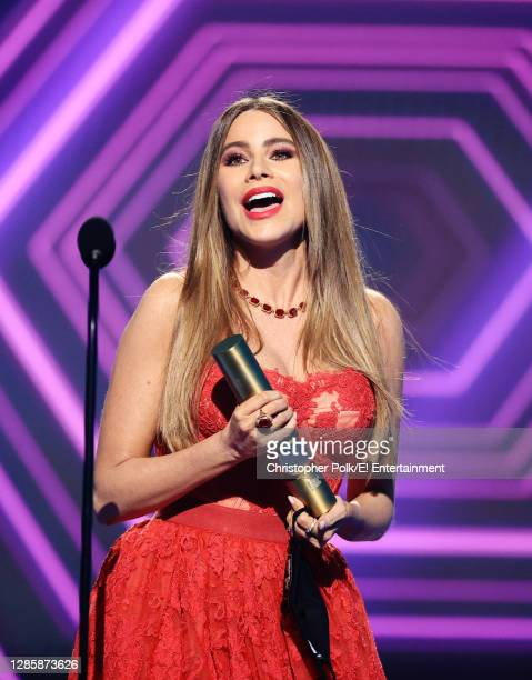 In this image released on November 15, Sofía Vergara, The Comedy TV Star of 2020, accepts the award onstage for the 2020 E! People's Choice Awards...