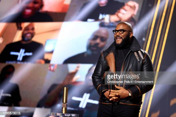 In this image released on November 15, Tyler Perry accepts People's Champion Award onstage for the 2020 E! People's Choice Awards held at the Barker...