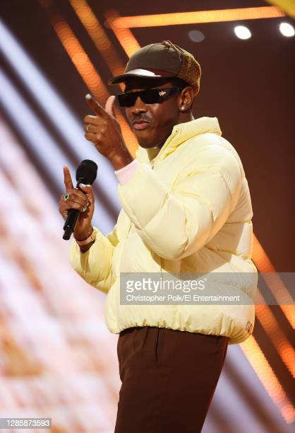 In this image released on November 15, Tyler, The Creator speaks onstage for the 2020 E! People's Choice Awards held at the Barker Hangar in Santa...