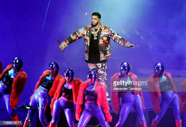 In this image released on November 19 Anuel AA performs at the 2020 Latin GRAMMY Awards on November 17, 2020 in Miami, Florida. The 2020 Latin...