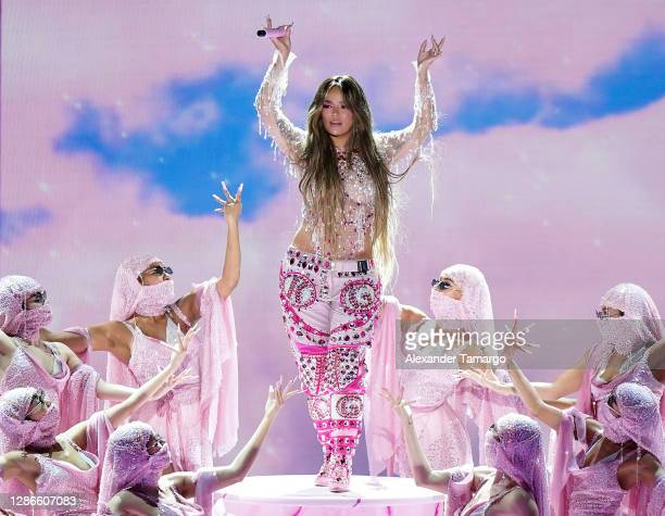 In this image released on November 19 Karol G performs at the 2020 Latin GRAMMY Awards on November 16, 2020 in Miami, Florida. The 2020 Latin GRAMMYs...