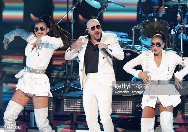 In this image released on November 19 Pitbull performs at the 2020 Latin GRAMMY Awards on November 15, 2020 in Miami, Florida. The 2020 Latin GRAMMYs...