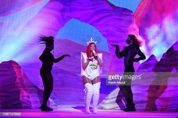In this image released on November 22 Bebe Rexha performs onstage for the 2020 American Music Awards at Microsoft Theater on November 22 2020 in Los...