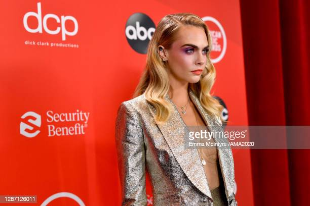 In this image released on November 22, Cara Delevingne attends the 2020 American Music Awards at Microsoft Theater on November 22, 2020 in Los...